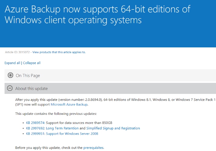 Windows Client backup to Azure