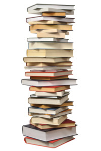 Stack of books and resources