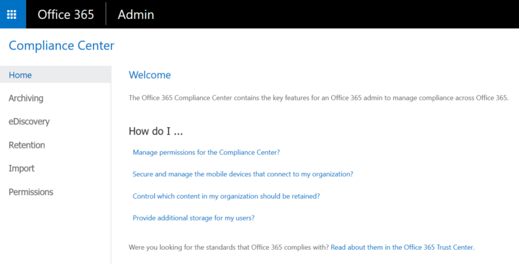Office365 Compliance Centre