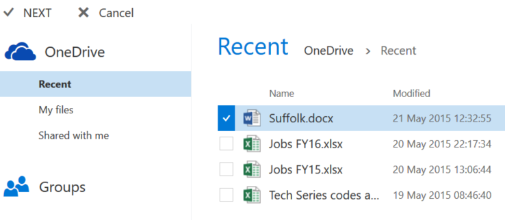 OneDrive Modern attachments