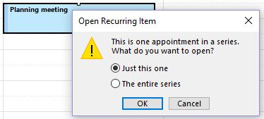Editing an Outlook meeting entry