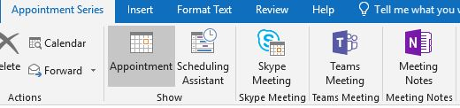 Outlook meeting toolbar with Skype Meeting option