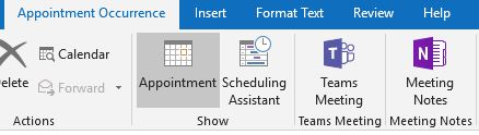 Outlook meeting toolbar without Skype for Business