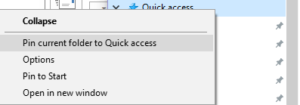 Pin a folder to Quick Access in Windows File Explorer