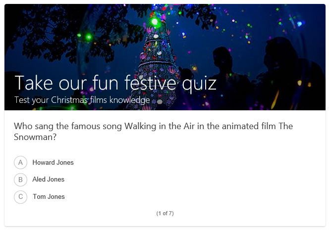 Bing's incorrect Christmas quiz question from 2018